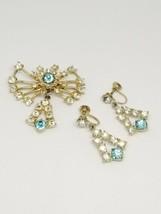 1940s Blue Clear Rhinestone Star Burst Dangle Pin Brooch Earring Set Vin... - $24.74