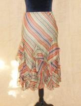 Lauren Ralph Lauren women M ruffle skirt lined striped mid calf - $39.60