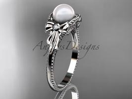 Bow engagement ring 14k white gold pearl wedding ring AP376 - $785.00