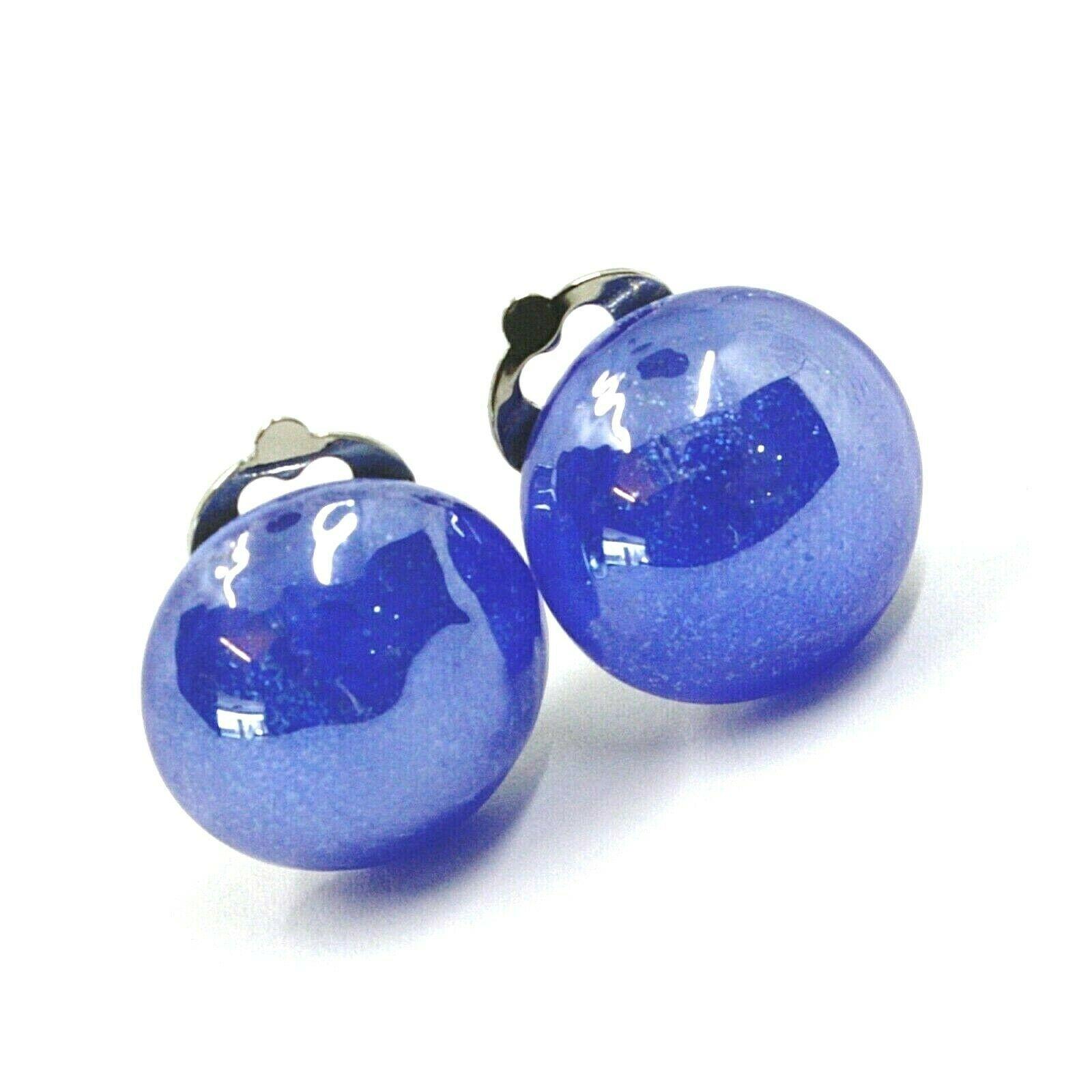 Earrings Antica Murrina Venezia, OR512A06, half Sphere, Blue, Closing Clips