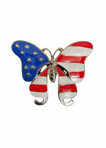 """2.25"""" Wide Patriotic Butterfly American USA Flag Colors Enameled Brooch Pin  - $13.30"""