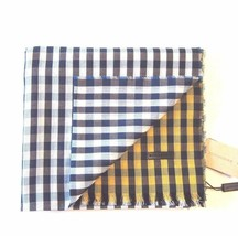 J-1071995 New Burberry Gingham Blue Yellow White Cotton Scarf 70x19 - $140.16