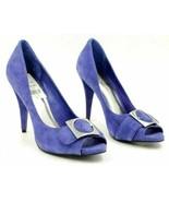 Bcbgirls Women Peep Toe Pump Heels Bianca Size US 6B Blue Suede - $17.50