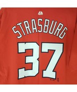 Majestic Washington Nationals Stephen Strasburg Red 37 Jersey T-Shirt Si... - $11.29
