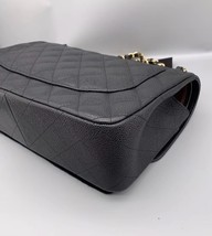 NEW AUTHENTIC CHANEL BLACK CAVIAR QUILTED JUMBO DOUBLE FLAP BAG GHW image 7