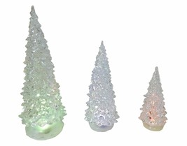 SET OF 3 CHRISTMAS TREE COLOUR CHANGING LANTERNS 14CM 20CM 27CM - £8.91 GBP