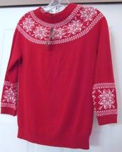 Talbots Wool Blend Sweater Ski Winter Scan Design Beaded 3/4 Sleeve Red XS NEW - $49.95