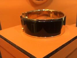 Authentic HERMES Clic Clac Wide Bracelet H BLACK GOLD HW SZ M Bangle  image 4