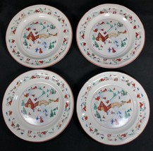 4 White Christmas Salad Plates Katherine Bobanovsky Farberware Village 1... - $14.84