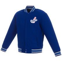 MLB Los Angeles Dodgers JH Design Wool Reversible Jacket 2 Front Logos Blue - $129.99