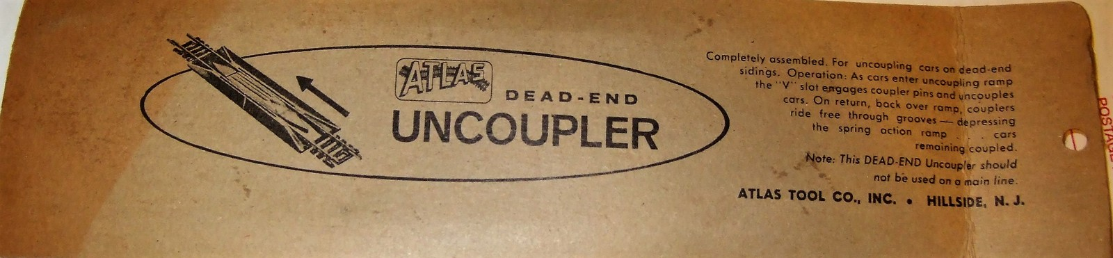 HO Trains Track - Dead-End Uncoupler - Atlas #49