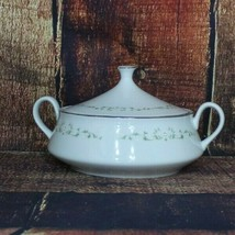 Sheffield Soup tureen or serving bowl 502 Elegance white roses with silver trim - $32.25