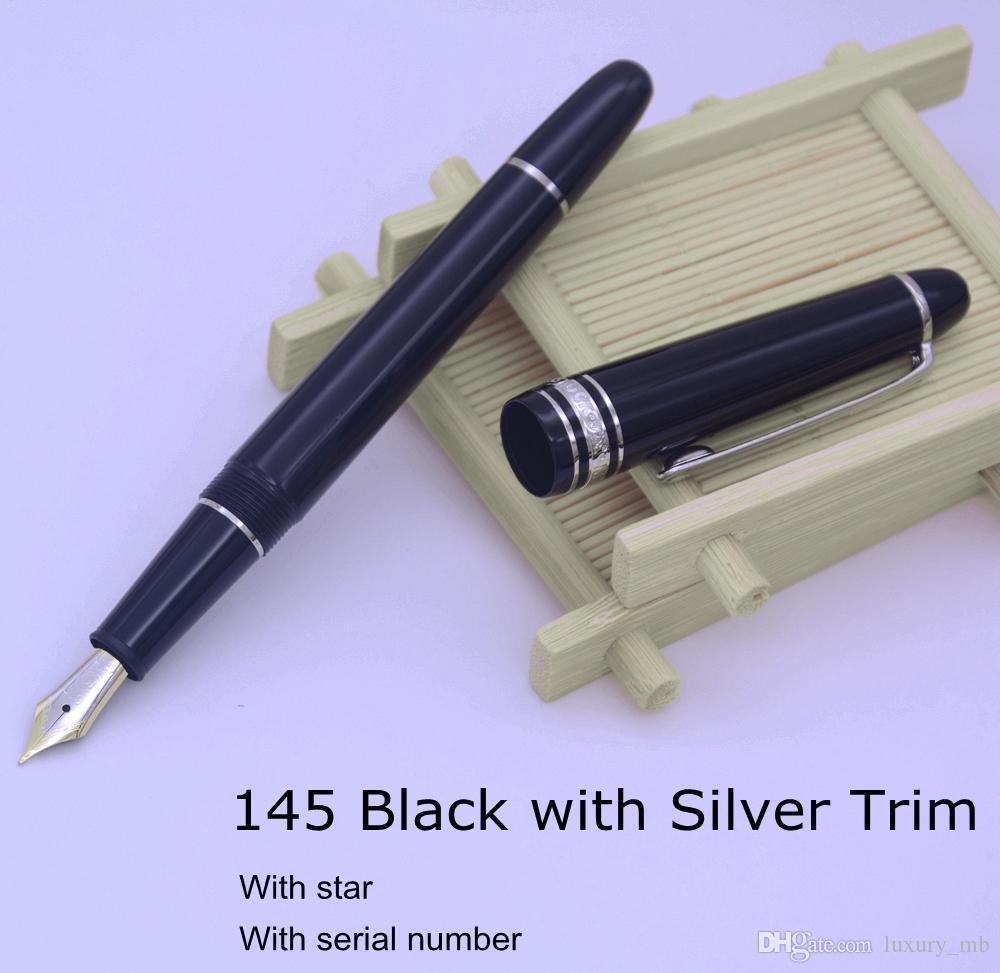TOP AAAAA Unique design MB fountain 145 pen black resin ink converter Middle siz