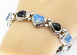 925 Sterling Silver - Vintage Black Onyx & Larimar Heart Chain Bracelet ... - $89.29