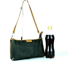 Auth Burberry London Blue Label Gray Denim & Leather Small Semi Shoulder Handbag - $127.71