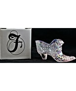 Fenton Art Pink Pearl Slipper Pink Iridescent Glass Hand Painted W/Origi... - $22.76