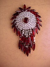HUGE red Kramer Brooch - Big Rhinestone tassels -  Vintage chandelier pi... - $235.00