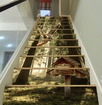 3D Woods Bird House Stair Risers Decoration Photo Mural Vinyl Decal Wall... - $90.93+