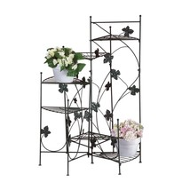 Black Metal Plant Stand, Outdoor Rustic Tall Ivy Staircase Metal Plant S... - $60.99