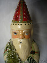 Vaillancourt Folk Art Father Christmas in Plaid with Ski Stocking & Bell Signed image 5