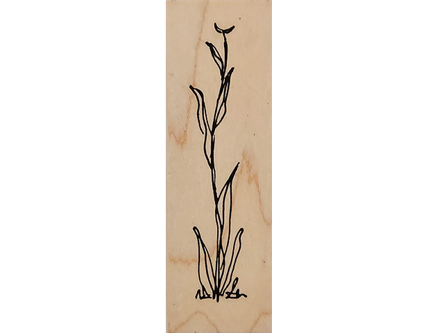 Judith Floral Stem Wood Mounted Rubber Stamp #F-163