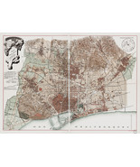Barcelona Spain Map 1891 Historical Vintage Town-map City-map Wall Poste... - $12.87+