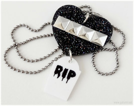 Pastel Goth, Tombstone Necklace, Black Heart Pendant, Studded, Stainless... - $13.00