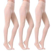Fitrell Women's 3 Pairs Control Top Pantyhose Opaque Tights, Nude, M - $16.96
