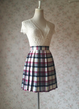 Red White Black Pleated Plaid Skirt School Style Short Pleated Plaid Skirts image 2