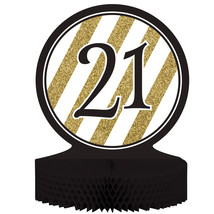 Black & Gold 21th Birthday Honeycomb Centerpiece/Case of 6 - €35,69 EUR