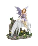Lavender Fairy And Unicorn Figurine - $26.99
