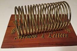 Vintage Brass Spring Wood Memo Letter Holder Souvenir Georgia Stone Moun... - $14.95