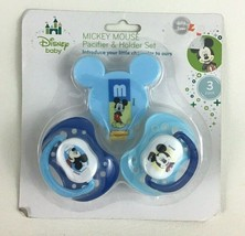Disney Baby Mickey Mouse Pacifier and Holder Set 3pc New in Pack Silicon... - $12.82