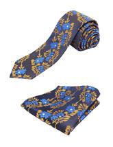 Berlioni Italy Men's Classic Paisley Striped Necktie Tie Handkerchief Gift Set image 3