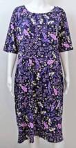 "Lula Roe Blue Purple Abstract Floral Dress 3X Runs Like A L Xl 46"" Bst - $29.99"