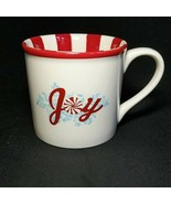 1 (One) STARBUCKS HOLIDAY JOY Coffee Mug  Red and White 14 oz. 2007 DISC... - $21.62