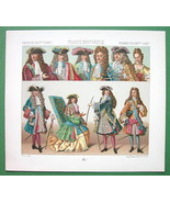 FRANCE Costume of Nobility King Louis XIV etc - COLOR Antiqe Print  A. R... - $9.12