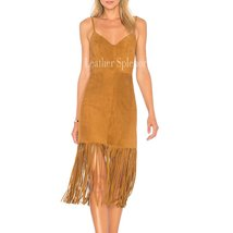 FRINGE DETAILED WOMEN SUEDE LEATHER DRESS