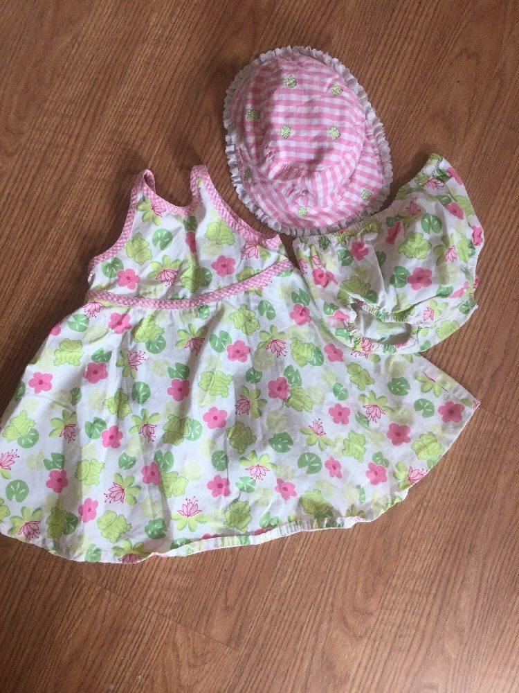 Primary image for Lot of 3 Used Gymboree Girls  12-18 Months Sundress Frog Flower Set Pink Green