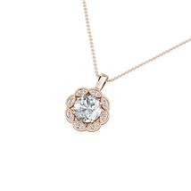 1.79CT Created Diamond 14K Rose Gold Flower Migraine Halo Pendant Neckla... - $266.31