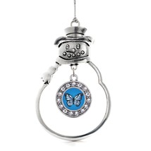 Inspired Silver Azure Butterfly Circle Snowman Holiday Christmas Tree Ornament - $14.69