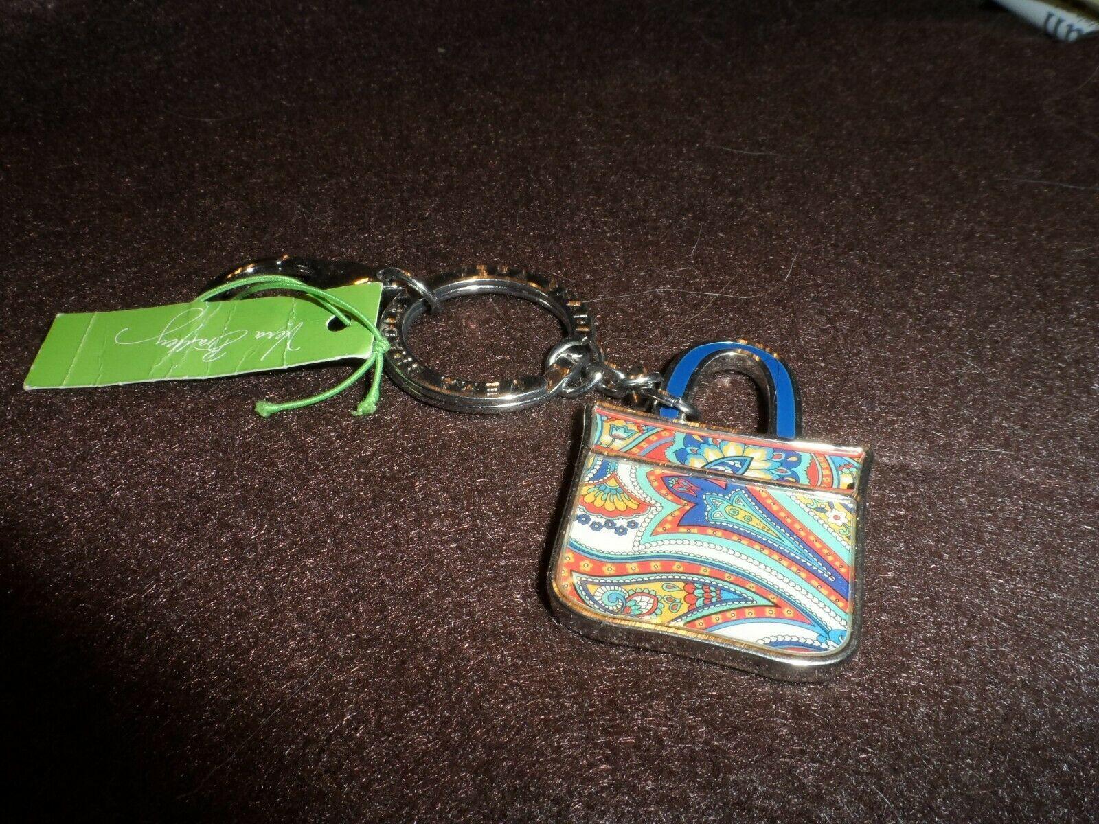 Vera Bradley Marina Paisley Tote Around keychain NWT