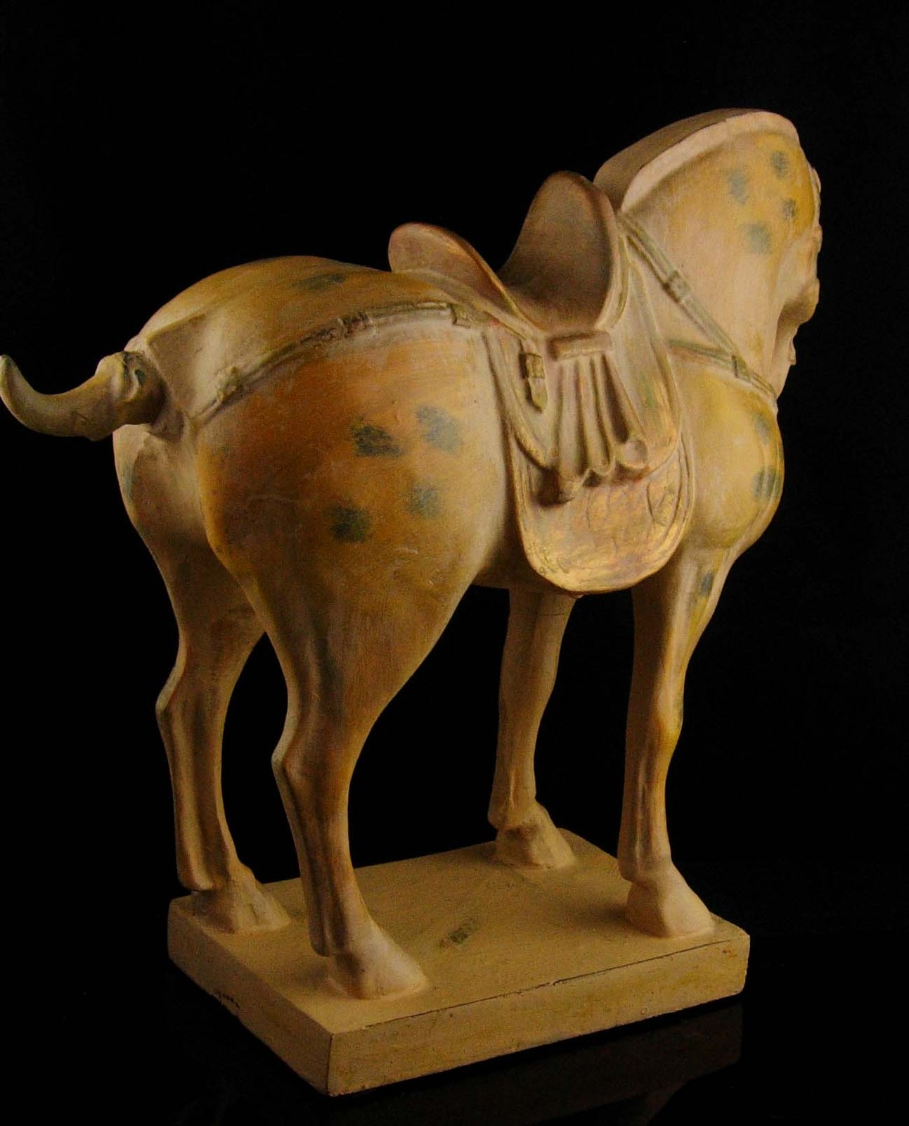 Large Chinese style  horse / vintage pinto statue - primitive sculpture - wester