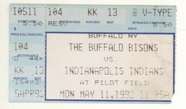 Indianapolis @ Buffalo Bisons 5/11/91 Ticket Stub! Indians Wins Fog Game... - $2.96