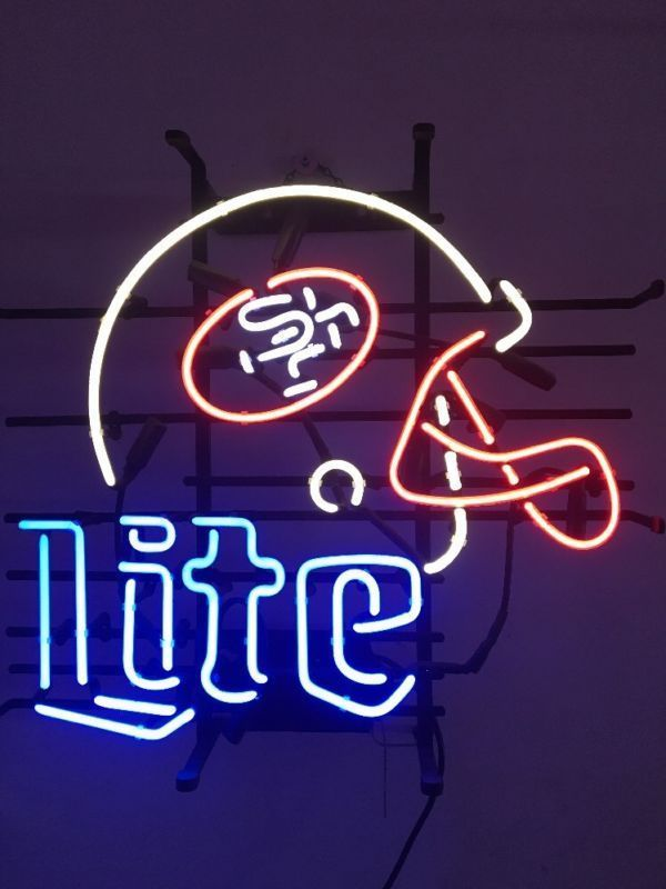 """New San Francisco 49ers Miller Lite Helmet Neon Sign 24""""x20"""""""