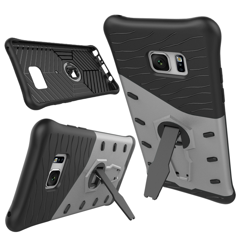 Shockproof Hybrid Kickstand Protective Case for Samsung Galaxy Note 7 - Silver