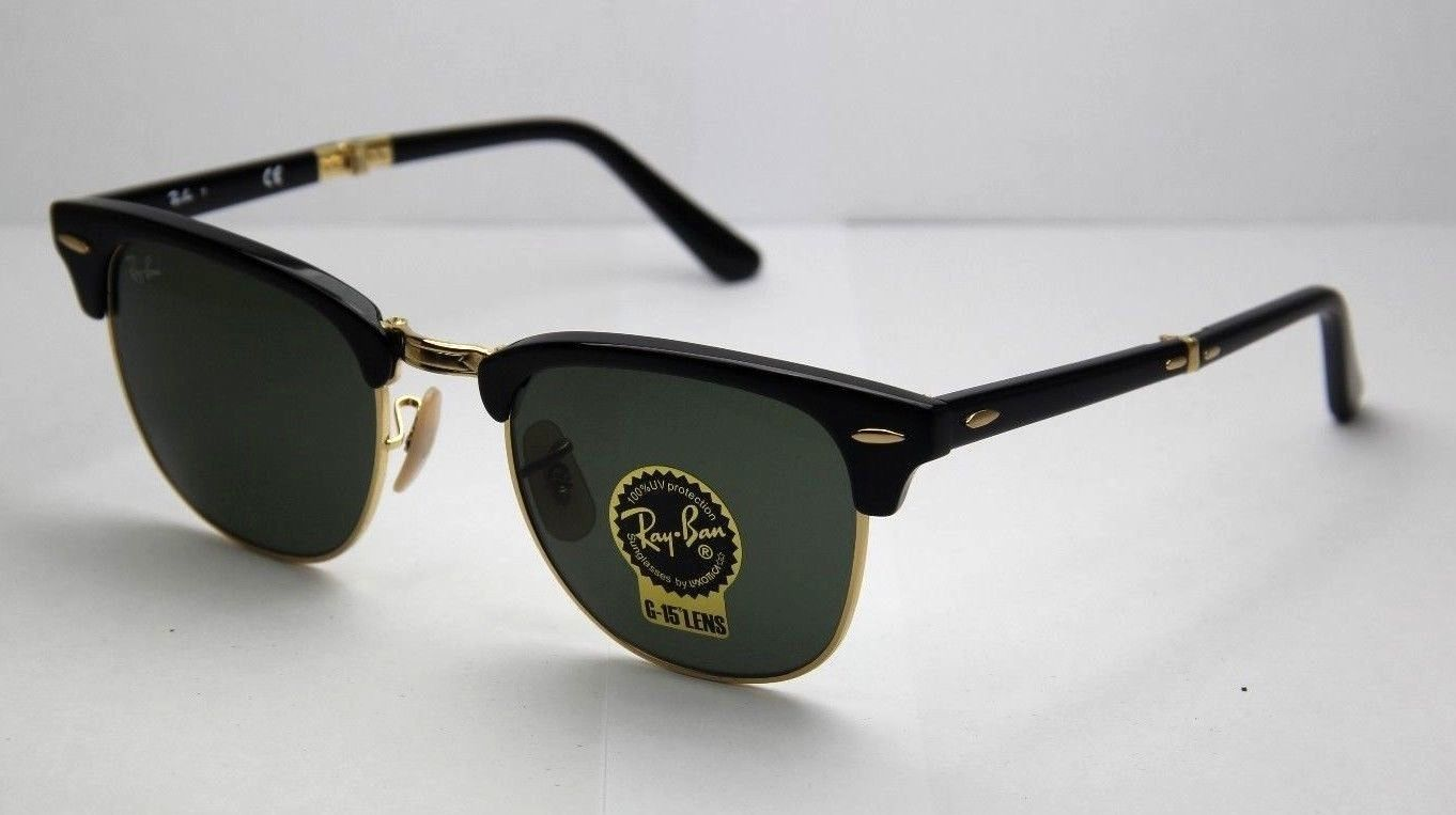 e53dd5a4f2 Ray-Ban Sunglasses FOLDING CLUBMASTER RB2176 901 51 Black Green NEW   ORG  Unisex