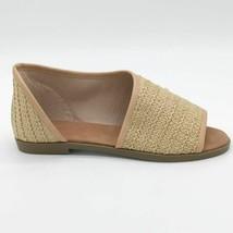 Bamboo Womens Hippie-72 Flat Shoes Beige Basketweave Peep Toe Slip On 5.5 New - $23.74