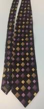 Giorgio Brutini Men's Neck Tie Black Gold Yellow Purple Block Pattern  - $6.92