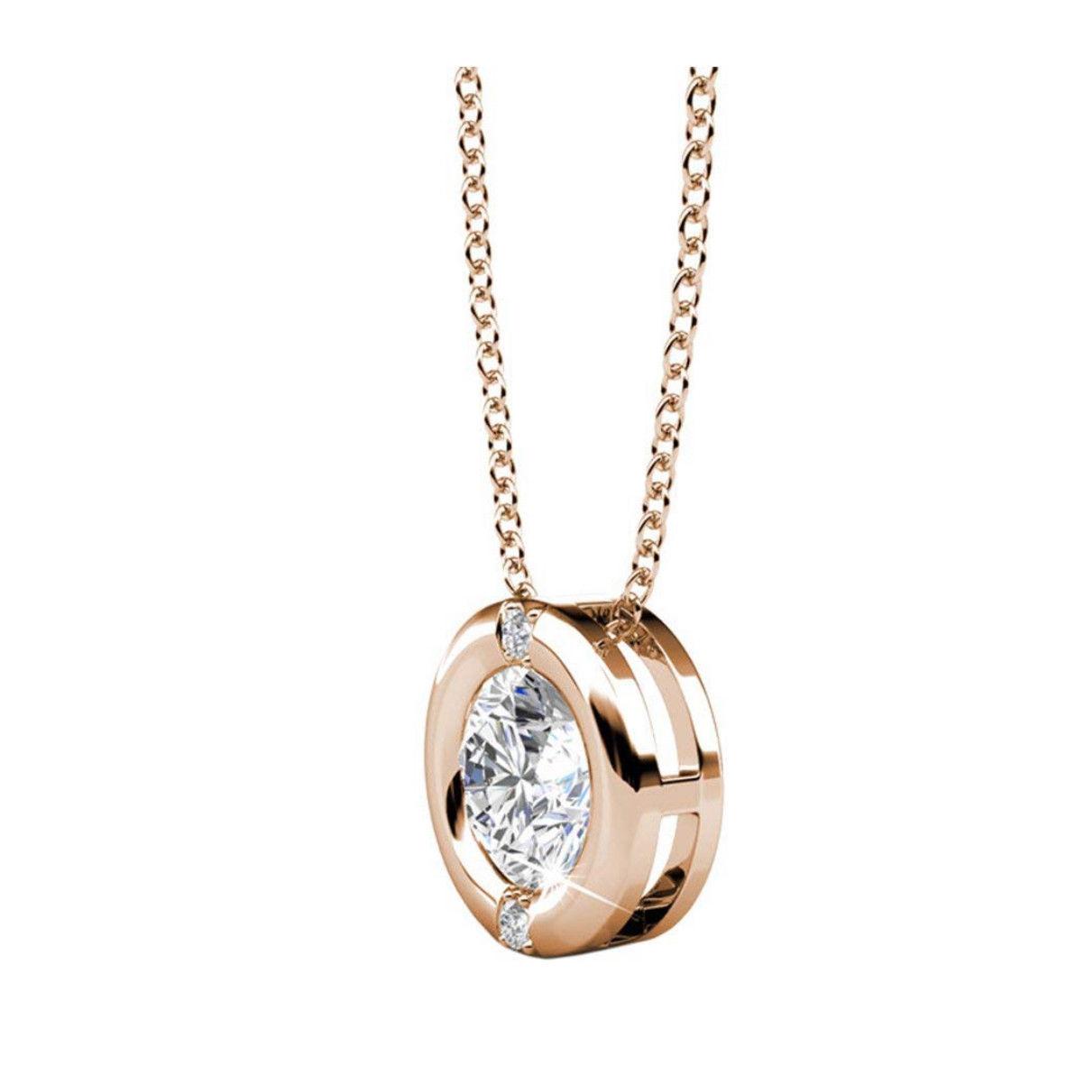 "18k Rose Gold Chain Necklace Swarovski Crystal 18"""